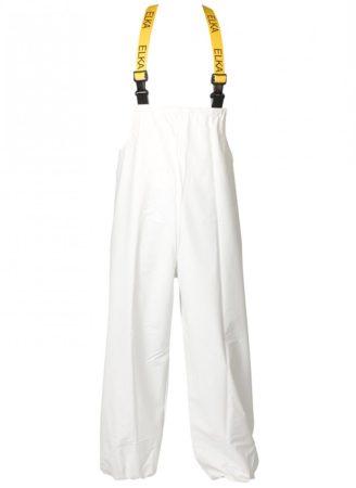 ELKA víz- és vegyszerálló kantáros PU nadrág fehér